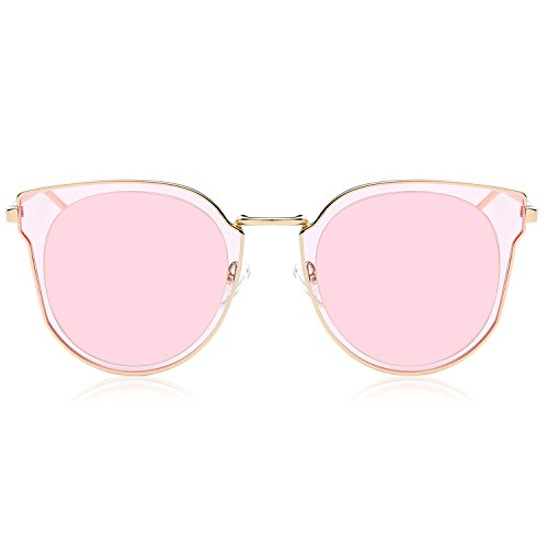 SOJOS Fashion Polarized Sunglasses for Women UV400 Mirrored Lens SJ1057 (C02 Rose Gold Frame/Pink Mirrored Polarized Lens, ()