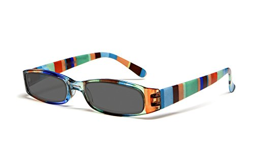 Calabria R576S Womens Colorful Striped Reading Sunglasses Incredibly Lightweight and Comfortable Soft Slip In Case Included (Brown +1.25) (Plastic Striped Sunglasses)