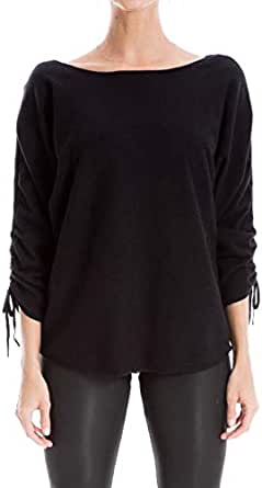 Max Studio Women's Ruche Sleeve Knit Sweater