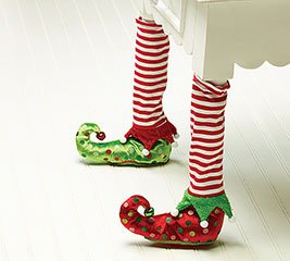 Elf Stockings And Slippers Christmas Chair Leg Covers Set Of 2