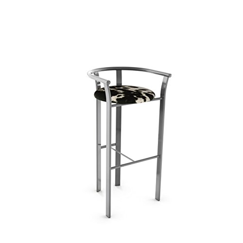 (Amisco Lolo Metal Counter Stool in Glossy Grey Metal and Soft Black and White Faux Cowhide Fabric)