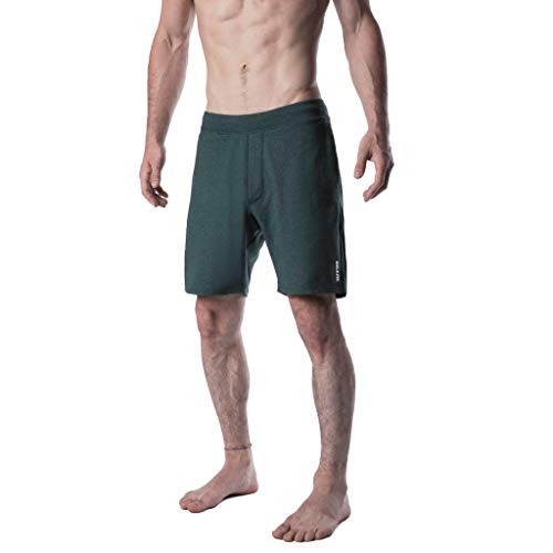 Yoga Crow Mens Pocketless Swerve Shorts w/Odor-Resistant Inner Liner (X-Large, Heather Green) ()
