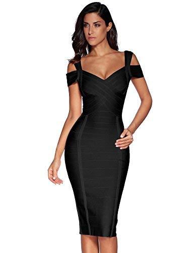 Meilun Women's Off Shoulder V Neck Bandage Clubwear Party Bodycon Dress (XL, Black1)