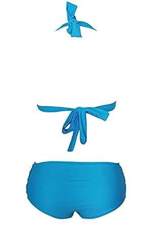 Lucky You Women's Teal Halter Top Padded High-Waist Bikini Blue S