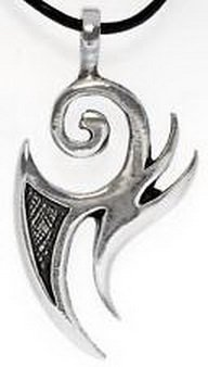 Tribal Pewter Rings - Blazers Jewelry 1985 - TRIBAL PHOENIX Silver Pewter Pendant Leather Necklace