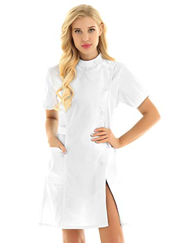 YiZYiF Women's Mandarin Collar Button Front Solid Hospital Nurse Scrub Dress Nursing Outfits White XX-Large