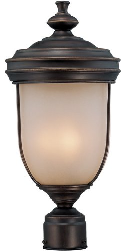 Lite Source LS-21131 Shanton Outdoor Post Lamp, Antique Rust with Light Amber Glass ()