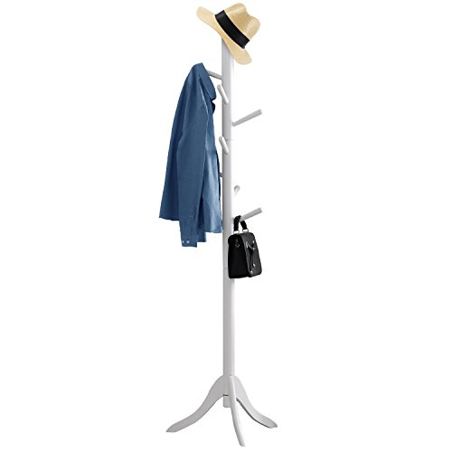 Vlush Free Standing Coat Rack,Wooden Coat Hat Tree Coat Hanger Holder Enterway Hall Tree with Solid Rubber Wood Base for Coat,Hat,Clothes,Scarves,Handbags,Umbrella-(8 Hooks, White)