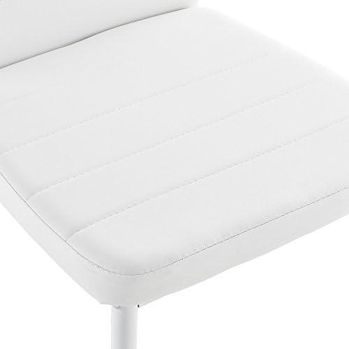 [en.casa] 6 x Chaise de Salle à Manger (Blanc) avec Rembourrage Cuir synthétique de Grande qualité pour Salle à Manger/Salle de séjour/Cuisine - kit