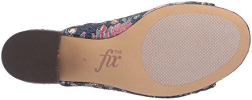 La Fixation Femme Belle Bloc Talon Mule Floral Pastel Denim Jacquard Textile