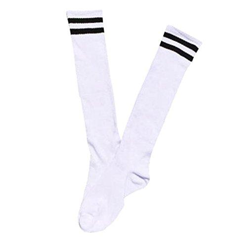 Usstore 1Pair Child Socks Sport Soccer Long Knee High Sock Baseball Hockey (White)