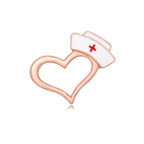 MANZHEN Enamel Nurse Hat Heart Lapel Pin Brooch for Doctor Nurse (Rose Gold)