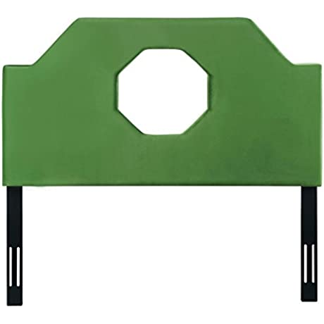 TOV Furniture The Noctis Collection Modern Velvet Upholstered Wood Metal Queen Size Bed Headboard With Octagonal Cutout Queen Size Green