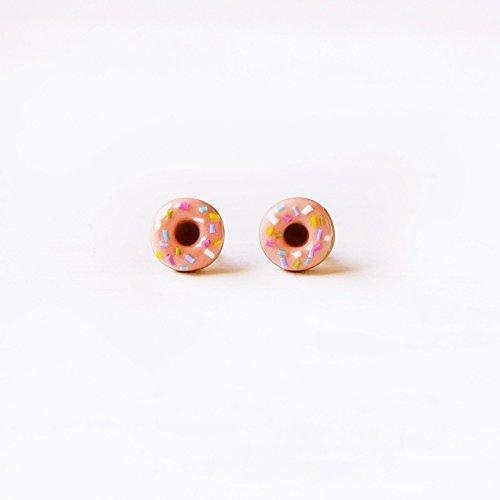 - Elfi Handmade Cute Pink Sprinkle Doughnut Stud Earrings, Dessert Food Jewelry, Donut Earrings, Donut Charm, Inedible Food, Perfect for Christmas gifts