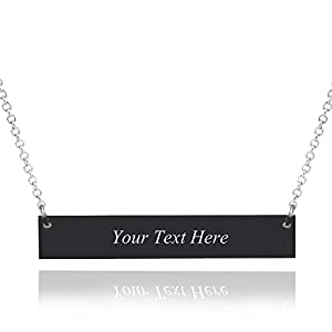 Caramel Personalized Custom Stainless Steel Horizontal Bar Necklace Pendant 5 Colors with Chain