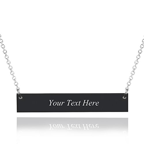 (Caramel Sweet Life Personalized Stainless Steel Horizontal Bar Necklace Pendant 5 Colors with Chain (Black) )