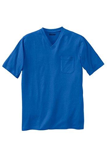 KingSize Men's Big & Tall Lightweight Cotton V-Neck Tee Shirt With Pocket, Royal