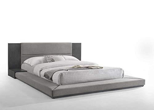 - Limari Home LIM-75895 Cimarron Collection Modern Fabric Upholstered Veneer Finished Platform Bed with Built-in Nightstands, Eastern King, Grey