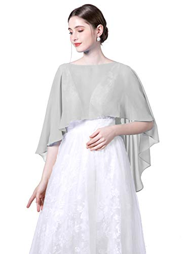 Baiqiya Wedding Capes Womens Soft Chiffon Shrug Bridal Long Shawl and Wraps, Silver Grey