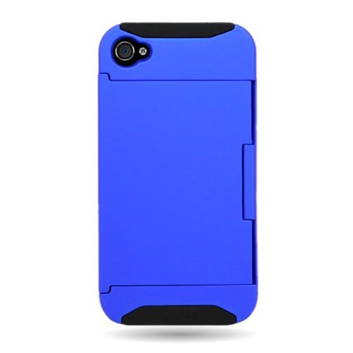 CoverON® HYBRID Heavy Duty Hard BLUE Case and Soft BLACK Silicone Skin Cover with Kickstand and Credit Card Holder for APPLE IPHONE 4 4S [WCF950] (I Phone 4s Cases With Card Holder)