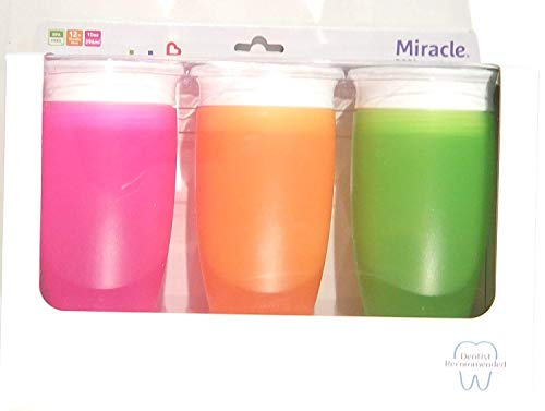 Munchkin Miracle 360 BPA Free Sippy Cup 10 ounce, 3 Count (Pink Orange Green)