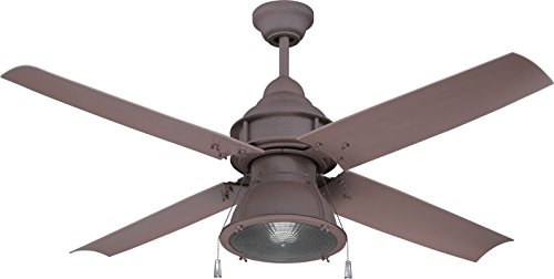 (Craftmade Outdoor Ceiling Fan with CFL Light PAS52RI4 Port Arbor 4 Blade 52 Inch Wet for Patio, Rustic Iron)