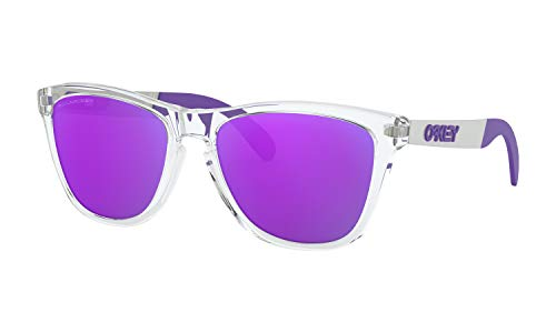 Oakley Frogskins Mix Sunglasses Polished Clear with Violet Iridium Polarized Lens + ()