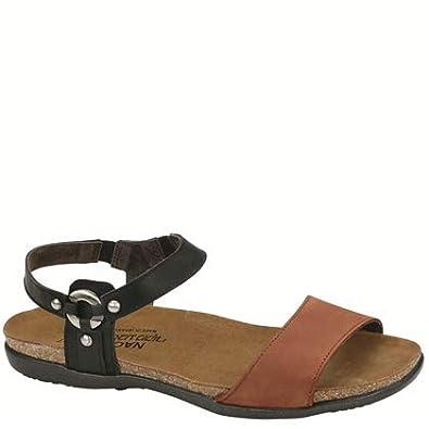 99311b20f4def7 NAOT Footwear Women s Sabrina Vintage Jet Black Lthr Hawaiian Brown Nubuck  Sandal 35 ...