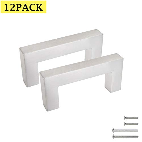 Stainless Steel Square Drawer Dresser Pulls Knobs Kitchen Cabinet Handles Brushed Nickel 2.5inch/64mm Hole Centers Width 1/2