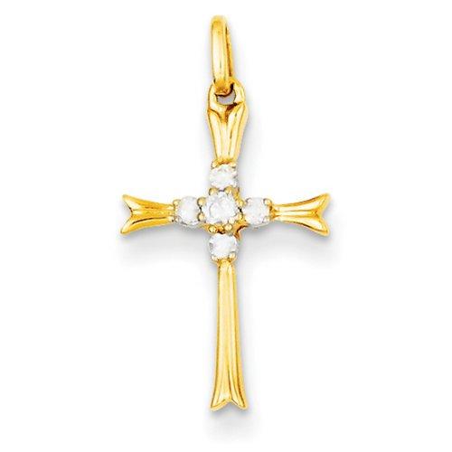 Icecarats Créatrice De Bijoux Or Jaune 14 Carats De Diamants Pendentif Croix