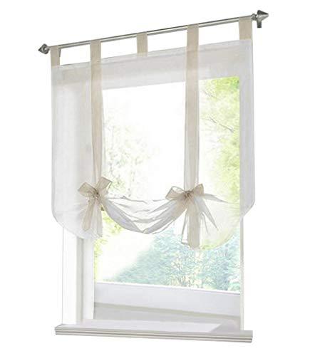 (86 York Bowknot Ribbon Tie Up Roman Curtain Rod Pocket Kitchen Balloon Window Curtain 1 Panel)