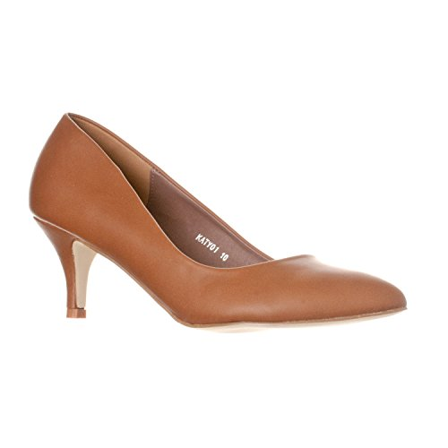 Riverberry Women's Katy Pointed, Closed Toe Low, Kitten Heel Pumps, Brown PU, 6.5