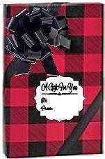 Red and Black Christmas Buffalo Plaid Lumberjack Holiday /Christmas Deluxe- Gift Wrap Wrapping Paper with Gift Tags and Bows