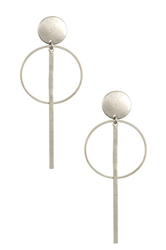 Post Ayala Earring (Trendy Fashion Jewelry Brushed Round and Drop Post Earring By Fashion Destination | (Rhodium))