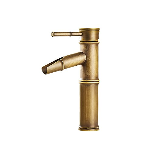 all Brass Single Handle Vessel Sink Kitchen Bathroom Faucet,Bamboo Form Design (Brass Copper Waterfall)