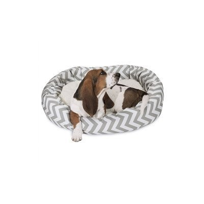 Majestic Pet Chevron Sherpa Bagel Bed, 32-Inch, Grey by Majestic Pet
