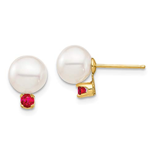 Pearl Ruby And - 14k Yellow Gold 7 7.5mm White Round Freshwater Cultured Pearl Red Ruby Post Stud Earrings Fine Jewelry Gifts For Women For Her