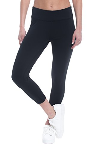 Performance Capri Pants - Gaiam Women's Capri Yoga Pants - Performance Spandex Compression Legging - Black Tap Shoe, Medium