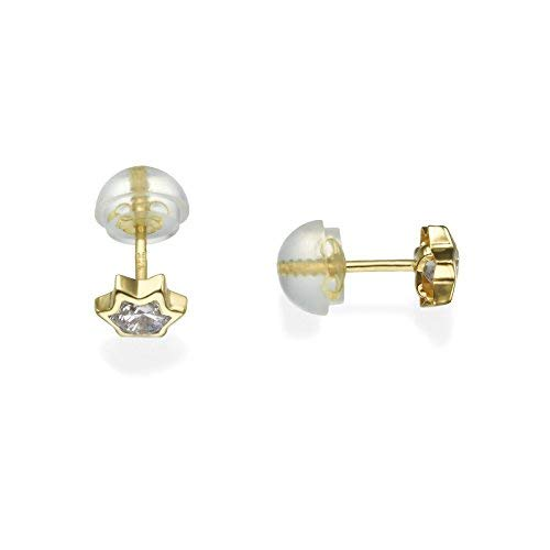 (14K Yellow Gold Star with 1 Round cubic zirconia Screwback Stud Earrings Children Jewelry)