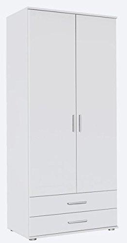 Kleiderschrank weiß 2 Türen B 85 cm/H 188 cm Schrank Drehtürenschrank Wäscheschrank Kinderzimmer Jugendzimmer Schlafzimmer