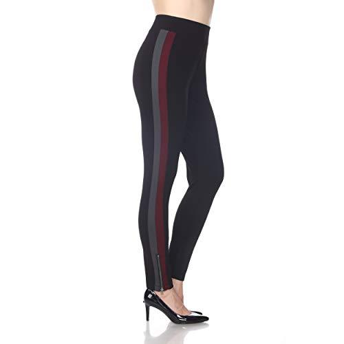 Blue Sunset Women's Black Racer Stripe Ankle Zip Ponte Pant Full Length Leggings (Large)
