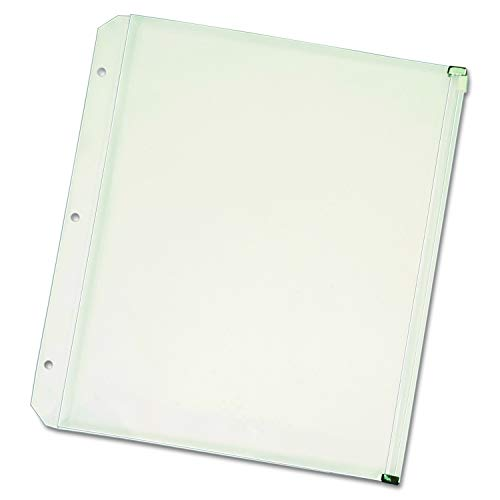 Cardinal Zippered Binder Pockets, 11 x 8 1/2, Clear 3 per Package 14201 (2 Pack) Cardinal Zippered Binder Pockets