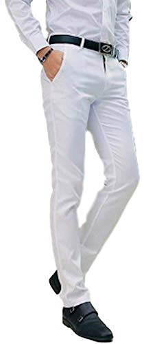 AIK Men's Tapered Slim Fit Wrinkle-Free Casual Skinny Dress Pants,Classic Flat Front Trousers (S, White)