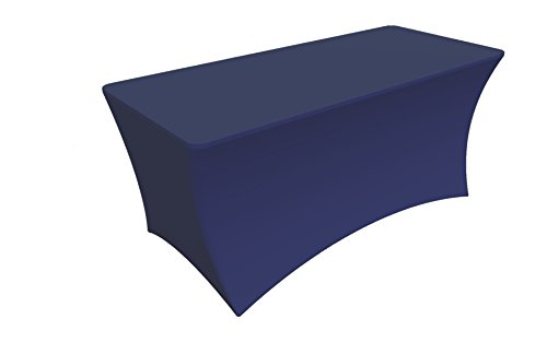 SY66 Tablecloth Cover, 6 ft white,Table Cloth Skirts, Rectangular, Polyester/Spandex, Elastic, Stretchable Linen, Stain & Wrinkle Proof, for Folding Tables, Wedding, DJ, Events (navy (Folding Table Skirt)