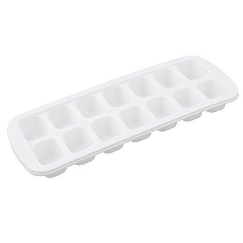 Amazon.com: eDealMax plástico de forma rectangular de cocina 14 compartimiento de la bandeja del cubo de hielo del molde Blanca: Kitchen & Dining