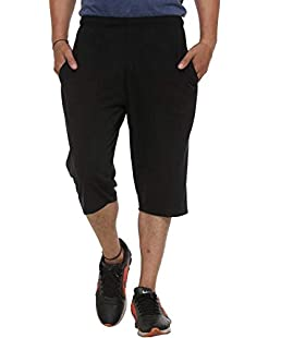 VIMAL Jonney Men's Cotton Capris (Black, Small)