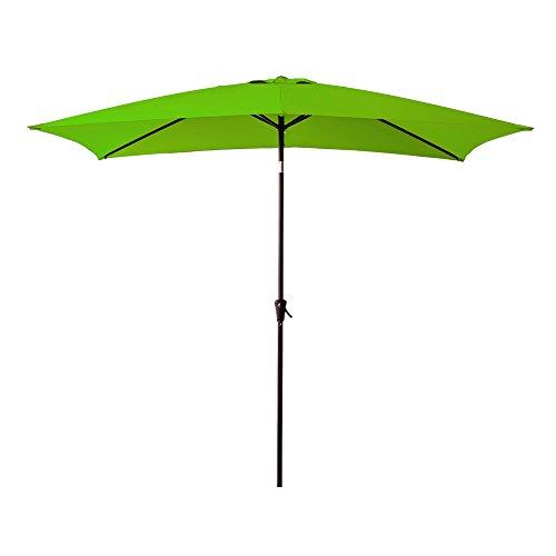 FLAME&SHADE Patio Outdoor Market Umbrella 6'6″ x 10′ Rectangle with Crank Lift, Push Button Tilt, Apple Green For Sale