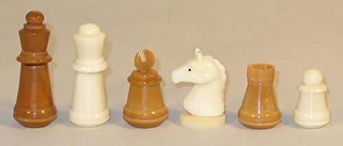 Unigifts Staunton Chessmen - Brown and Natural Hand-Carved Tagua Nut