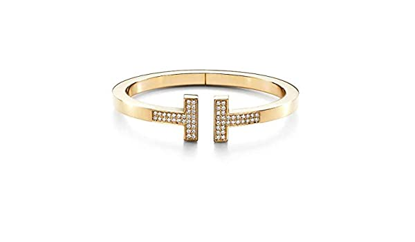 41f37b2a6c53f Amazon.com: Tiffany Style T Square Bracelet Round Natural Diamond ...