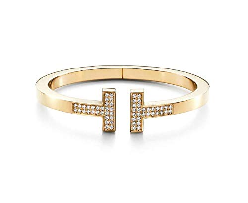 Tiffany Style T Square Bracelet Round Natural Diamond 18k Solid Yellow Gold Women Engagement Wedding Bridal Love Party Anniversary Jewelry All Wrist Size Available